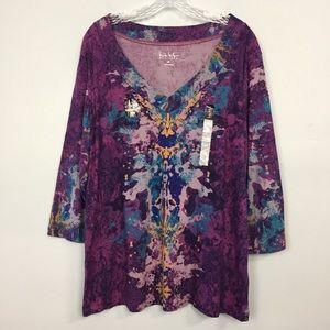 Nicole Miller 3/4 Sleeve V-Neck Purple Combo Top